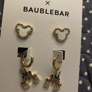 Disney 2 set of Baublebar  Mickey castle earrings